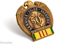 VIETNAM WAR  IN THEATER VETERAN 5OTH ANNIVERSARY COMMEMORATIVE MEDAL RIBBON PIN