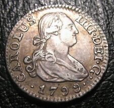 OLD COLONIAL COINS 1799 SPANISH 1/2 REALES SILVER COIN HALF REAL SPAIN  MADRID