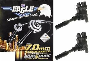 Black Eagle 7mm Ignition Leads & 2 Denso Coils E74654 IGC-041 suits Holden Cruze