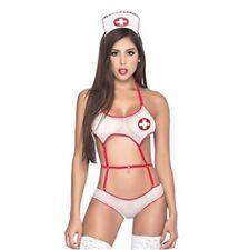 Mapale Women's Sexy Nurse Teddy Outfit Costume Set, sz L, White, Style 6308