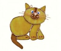 Stained Glass  -Tan Cat Sun catcher- GE186