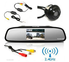 "Wireless Car Rotatable Camera + Rearview Mirror Display Monitor 4.3"" LCD Screen"
