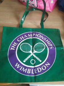 Wimbledon Tennis The Champions Oilskin Tote Shopper Bag Green Purple