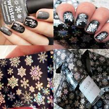 1pc Holo Nail Foils Snowflake Christmas Manicure Nail Transfer Art Sticker Tips