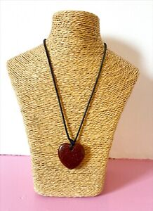 Brown Glittery Heart Necklace On Rope Chain