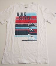 NWT Quiksilver Big Boys M Short Sleeve Tee T-Shirt White Alpha Male Surf