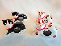 Cat Napkin Rings Set of 4 Hand Painted Wood Calico Black