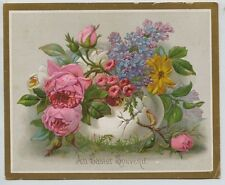 Victorian Easter Trade Card  Pink Roses & Purple Flowers in Egg