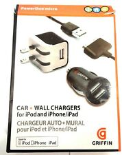 Griffin Set Car Wall Charger Dual USB Fits iPod iPhone iPad 1 Iphone 3 4 4s 3s