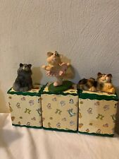 Lil Luvables Figurine Lot (3) Russ Berrie Kathleen Kelly Critter Factory Cat 's