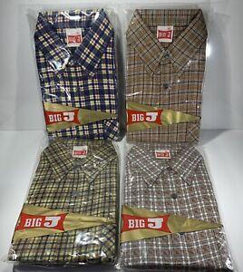 Set of 4 Vintage Checked Big J Shirts - Ex Army Surplus Stock Size Medium
