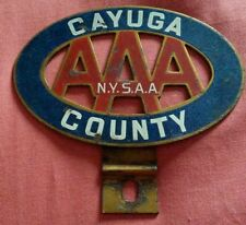 044 AAA Member Car Club Badge New York State Cayuga County Vintage Brass Enamel