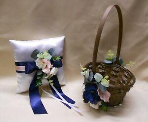 Wicker Flower Girl Basket Ring Bearer Pillow Eucalyptus Navy Blue Pink Blush