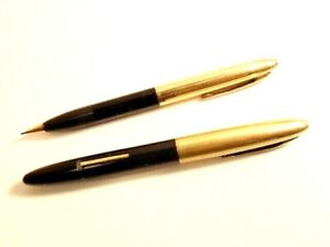 "Sheaffer ""white dot"" fountain pen & mechanical pencil; gold filled cap; nib 14K"
