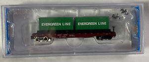 Bachmann N Scale ~ UNION PACIFIC ~ Flat Car W/ Container Load (Evergreen Line)