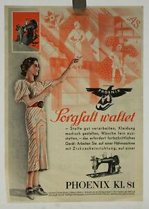 altes Prospekt Phoenix Nähmaschine um 1930 Werbeblatt