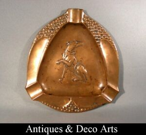 Art Nouveau Copper Ashtray with Hunting Dog