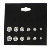 6 Pair Fashion Women Charm Jewelry Crystal Rhinestone Ear Stud Earrings Silver