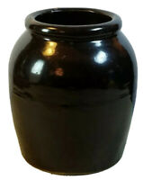 "Antique STONEWARE POTTERY GLAZED STORAGE SMALL CROCK JAR 6 1/2"" Tall 5 1/2"" Dia."