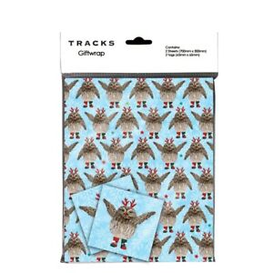 Owl Reindeer Christmas Wrapping Paper - 2 Sheets of Xmas Giftwrap and 2 Tags