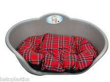 SMALL Plastic SILVER GREY Pet Bed With RED TARTAN Cushion Dog Cat Sleep Basket