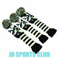 3pcs Green Wool Knit Golf Pom Pom Headcover Head Cover for Driver Fairway Wood
