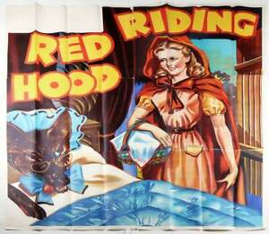 Huge 6 Sheet 1930s Red Riding Hood Pin-Up Stone Lithography Theater Poster