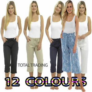 Ladies Linen Cropped Trousers Womens 3/4 Length Shorts UK Size 10 12 14 16 18 20