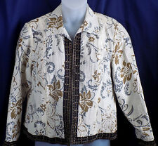 Coldwater Creek Blazer Jacket Size Petite Large Beige Gray Floral Unlined