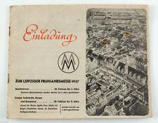 1937 LEIPZIG TRADE FAIR Invitation Brochure LEIPZIGER MESSE Illustrated