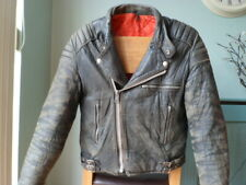 VINTAGE LEATHER BIKER JACKET-SIZE 38 UK-SMALL-DISTRESSED-SCUFFED-RED LINING---60