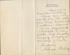 Schuyler Wheeler Signed Autographed Manuscript Letter Inventor Electric Fan
