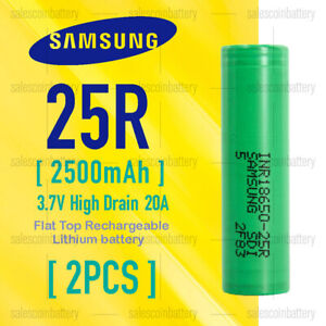 2x Samsung1865 25R 2500mAh 3.7v High Drain 20A Rechargeable Li-ion Batteries