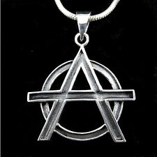 Handcrafted Solid 925 Sterling Silver ANARCHY Symbol Occult Pendant