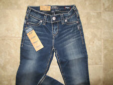 Silver Jeans Suki Dark Med Rise 24Wx31L Super Skinny Leg Relaxed NWT Very NICE