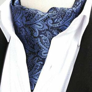 Men Paisley Flower Cravat Tie Scarves Ascot Wedding Party High Grade Neckties