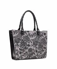 NWT $299 Patricia Nash Zancona Black & White Chantilly Lace Top Zip Tote Bag
