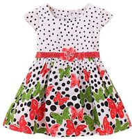 Baby Toddler Girl Cotton Dress Polka Dot Butterfly 2T 24 Month 2 Years Red White