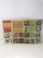 VTG 1950's LOT of 3 GOLDEN PLAY/Classic Stamp BOOKS~ Animals, Birds,Daniel Boon