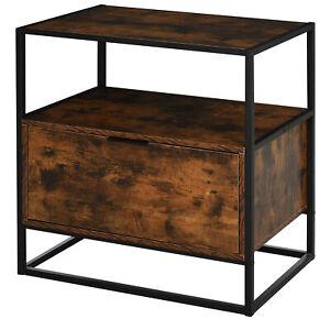 HOMCOM Beistelltisch mit Schublade Betttisch Nachttisch Couchtisch Spanplatte