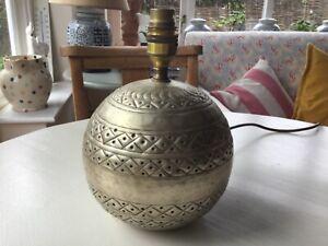 Vintage Brass Gold Lamp Base Hammered Ethnic Boho indian