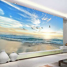 Custom Photo Wallpaper 3D Seagull Blue Sky White Clouds Sea Landscape Wall Mural