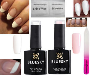 BLUESKY FRENCH MANICURE KIT STUDIO WHITE AND A CLEAR PINK NAIL GEL POLISH UV LED