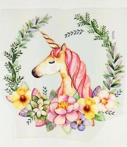 Bügelbild Color Bügeltransfer Applikation Patch Einhorn Unicorn Blumen