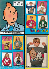 TIN TIN INTARSIA KNITTING PATTERN BKLET 9 SWEATERS PRINTED ON HEAVY GLOSSY PAPER