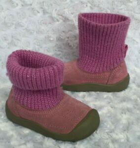 KEEN Girls SHAY Suede Knit Sweater Boots-Magenta (Toddler Size 6)