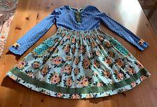 Matilda Jane Girls Sz 8 Blue Multicolor Dot Floral Dress