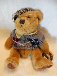 "Brass Button Bears Sherwood Plush 11"" Bear in Sweater w/Glasses Stuffed Animal"