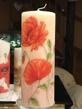 WATERCOLOUR POPPIES  Hand Decorated Pillar Candle 90hrs 18x6.5cm