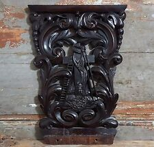 Solid mahogany religious panel Antique french carved wood salvaged furniture